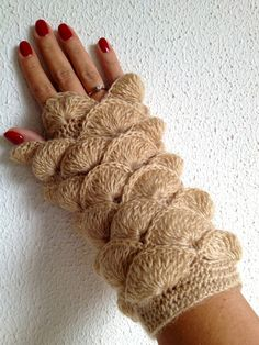 Fall Season New Beige Cream  Fingerless Gloves by cookieletta, $34.00