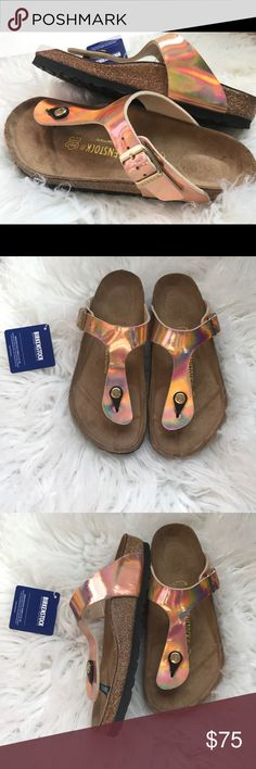 BNWT Birkenstock Rose Gold Brand new with tags & box. Box might not be in perfect shape due to handling. Sizes 36, 37,39 & 40 regular width Please know your size in Birks before ordering. I can only guarantee I will be sending the European size stated on the listing. All items are inspected throughly and filmed before shipment.   Price is FIRM   Thanks! Birkenstock Shoes Sandals