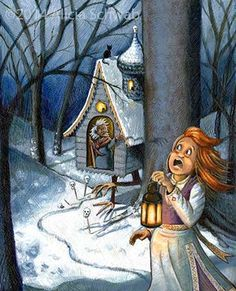 Vasilisa gets moved to the front. I also gave Baba Yaga a more sinister left hand that is conjuring her shadow to go after Vasilisa. Baba Yaga, The Conjuring, Illustration, Painting, Design, Art, Art Background, Illustrations, Painting Art