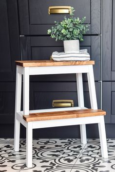 Modern farmhouse style Ikea Bekvam step stool hack that you can do with very few materials in a single afternoon from Living Letter Home Ikea Step Stool, Kitchen Step Stool, Ikea Kids Stool, Step Stools, Bar Stools, Bekvam Stool, Ikea Bekvam, Furniture Makeover, Diy Furniture
