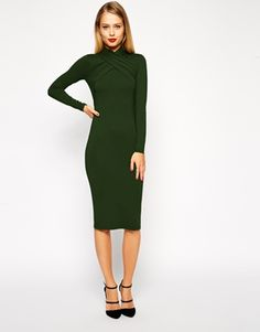 Enlarge ASOS Midi Body-Conscious Dress with Twist Neck Detail