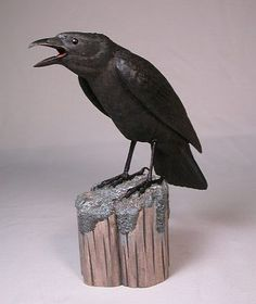 "Carved American Crow 10"" #1"