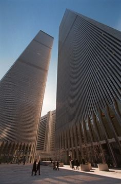 FILE - This Tuesday, Feb. 1997 file picture shows the twin towers of the World Trade Center in New York. World Trade Center Nyc, Trade Centre, Photographie New York, Manhattan New York, Lower Manhattan, Iconic Photos, Dream City, Old Buildings, Beautiful Buildings