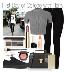 """""""First Day of College with Harry"""" by claire-5sos ❤ liked on Polyvore featuring Barbara I Gongini, Yves Saint Laurent, Converse, Sonix, Miss Selfridge, H&M and Pandora"""