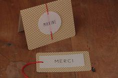 Du kraft, des pois, du calque, un origami et une pointe de rouge. Un faire-part sur mesure pour la petite Maxine.