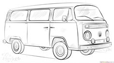 How to draw a VW bus step by step. Drawing tutorials for kids and beginners.