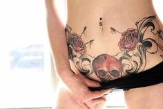 Jaw Dropping Side and Lower Stomach Tattoos for Both Sexes - Reachel Tattoos To Cover Scars, Skull Tattoos, Couple Tattoos, Body Art Tattoos, Cover Tattoo, Sexy Stomach Tattoos, Lower Stomach Tattoos, Piercing Tattoo, Pelvic Tattoos