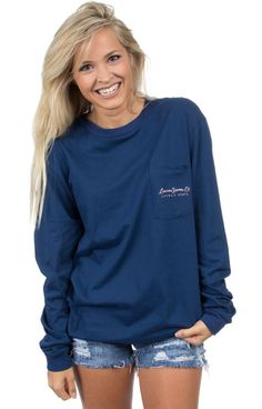 Navy - Arkansas Love Tee - Long Sleeve Front