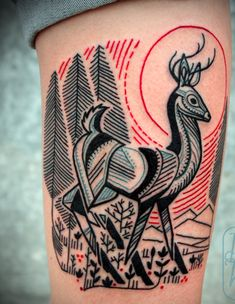 This is the main source for the tattoo I would like. LOVE the colour, the line art, the folk art feel. The poise of the stag.  - I'd like the animal to be replaced with a fox