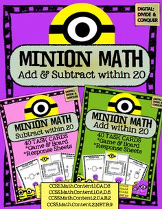 MINION Math! Addition & Subtraction w/ 80 Task Cards and Game. CCSS (add & sub. within 20). ($5)