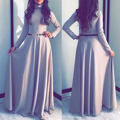 Chic Turtleneck Long Sleeve Pure Color Women's Maxi Dress
