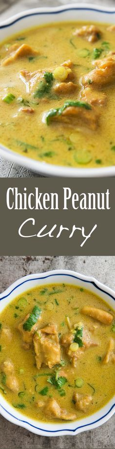 Chicken Peanut Curry ~ West African inspired chicken peanut curry, with lime, coriander seed, onion, cilantro, mint, ginger, chili, peanuts, and chicken. ~ SimplyRecipes.com