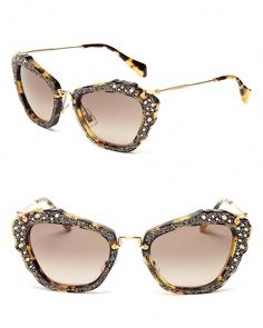 c44c31c742b5 Miu Miu Embellished Cat Eye Sunglasses