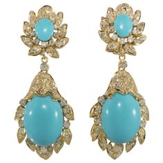 Shop diamond and pearl dangle earrings and other vintage and antique earrings from the world's best jewelry dealers. Aquamarine Jewelry, Turquoise Earrings, Turquoise Jewelry, Vintage Turquoise, Antique Earrings, Dangle Earrings, Diamond Earrings, Clover Necklace, Fantasy Jewelry