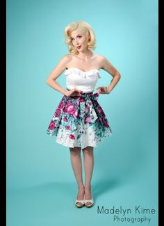 Pinup Couture Audrey Skirt in Purple Floral Border Print and Sash Bow