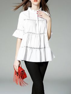 Shop Blouses - White Paneled A-line Cotton-blend Half Sleeve Blouse online. Discover unique designers fashion at StyleWe.com.