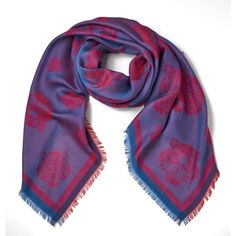 KENZO Jaquard Multi Tiger Head Scarf - Red (9.910 RUB) ❤ liked on Polyvore featuring accessories, scarves, red shawl, red scarves, kenzo and kenzo scarves