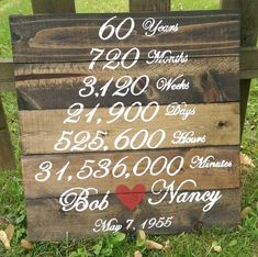 Wedding Anniversary Wood Sign – Years Months Weeks Days Hours Minutes of Marriage – Custom – Anniversary Party – Anniversary MADE TO ORDER Hochzeitstag Holzschild von ThePinkHammerShop 60th Anniversary Parties, Parents Anniversary, 25th Wedding Anniversary, Anniversary Ideas, Anniversary Party Decorations, Marriage Anniversary, Wedding Vows, Wedding Cake, Wedding Gifts