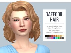 Daffodil HairAn edit of the Vintage Glamour hair to be a bit longer and a bit more relaxed, inspired by Sandra Templeton in the movie Big Fish and originally created for my daffodil post. For as simple as these changes were, this hair put up a. Sims 4 Cc Packs, Sims 4 Mm Cc, Vampire Hair, Sims 4 Stories, Sims 4 Teen, Glamour Hair, Download Hair, Sims 4 Cas, Sims 4 Cc Finds