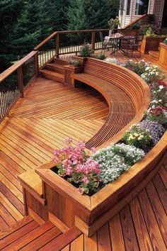 Someday when we replace the deck, I'd like to do something more interesting like this that gradually steps down to the pool