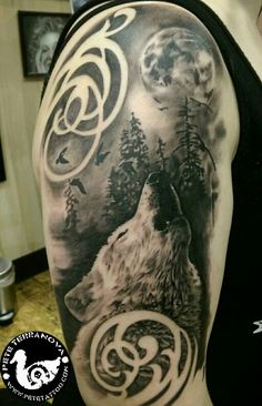 Black and gray howling wolf moon and trees tattoo