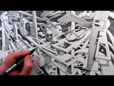 How to Draw a Fantasy Cityscape in 2-Point Perspective: Time-Lapse - YouTube