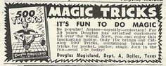 Douglas Magicland, a local magic store in Dallas, Texas ad from 1956