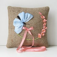 Butterfly ring pillow rustic embroidered wedding pillow by bstudio on Etsy.