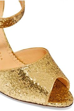 Charlotte Olympia - Emma Glittered Leather Sandals - Gold - IT36.5
