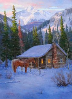 jim daly western art | On a Winter Eve: Original Western art painting of horses by cabin at ...