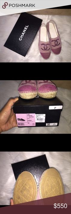 Chanel Espadrilles pink with pink sequin size 40 Up for sale is a preloved Chanel espadrilles in size 40. Comes with original box only. Item has been worn but still in very good condition. Please ask questions as this item is final sale. CHANEL Shoes Espadrilles