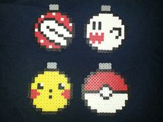 Christmas Ornaments: Piranha, Boo, Picachu, and a Pokeball perler beads by PerlerQueen https://www.etsy.com/shop/jinglebells0424