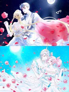 Sailor Moon Crystal, Sailor Moon Fan Art, Sailor Chibi Moon, Chibiusa And Helios, Sailor Moon Background, Neo Queen Serenity, Mermaid Melody, Romantic Manga, Gekkan Shoujo