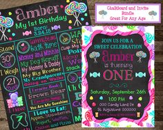 Girl's First Birthday Chalkboard, candy chalkboard poster, Candy Theme…