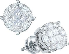 14kt White Gold 1/6 Ctw Round and Princess Diamond Earrings