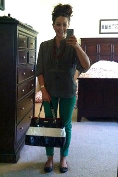 green skinny jeans   polka dot shirt   kate spade purse   ootd   teacher clothes   teacher outfit   what I wore   teacher blog