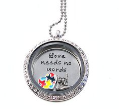 Autism Awareness Floating Locket / Charm Locket / Hand Stamped Jewelry on Etsy, $43.00