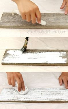 Easy tutorial & video on how to whitewash wood to create beautiful farmhouse white washed floor, shiplap wall & furniture on pine, pallet or reclaimed wood! – A Piece of Rainbow DIY home decor ideas, Vintage, shabby chic Whitewash Wood, Weathered Wood, Paint Furniture, Furniture Makeover, Building Furniture, Furniture Projects, Furniture Design, Distressed Wood Furniture, Distressing Wood