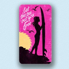 "Sunset Surfer Girl Sign ""Let The Sea Set You Free"". This surfer girl sign represents the true spirit of surfing. Hang this colorful surf sign on your wall for a splash of color and show everyone your love of surfing & ocean. The surf sign floats off the wall about 1″ giving the sign dimension and a..."