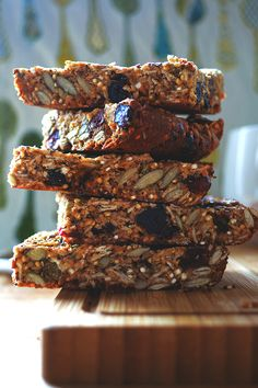 quinoa seed granola bars - peanut butter, honey, eggs, cinnamon, vanilla, quinoa, rolled oats, hemp hearts, pump seeds, 1 cup dried fruit, 1/4 cup chia seeds, 1/4 cup poppy seeds, 1/4 cup flax seeds
