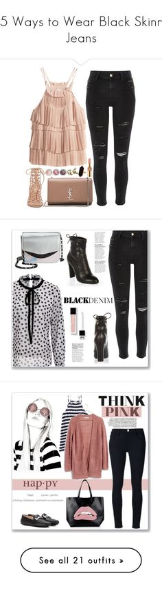 """""""15 Ways to Wear Black Skinny Jeans"""" by polyvore-editorial ❤ liked on Polyvore featuring blackskinnyjeans, waystowear, H&M, River Island, Yves Saint Laurent, Gianvito Rossi, Bare Escentuals, Chanel, Jaeger and Circus By Sam Edelman"""