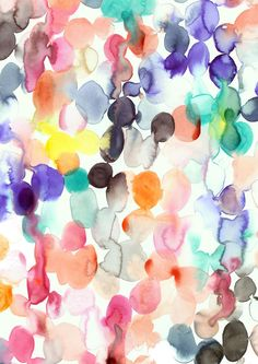 Watercolour Blobs  A4 Print by MadeByEmilyGreen on Etsy