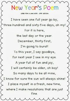 Free Download New Year's Poem Clever Classroom