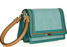 Burberry Prorsum - Raffia-effect and leather wristlet clutch