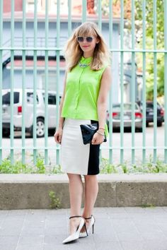 Neon is the perfect summer spin on a corporate-chic outfit. Click through for more street style snaps!