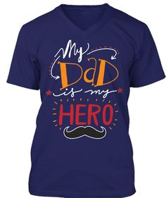 Daddy Hero!  Navy T-Shirt Front