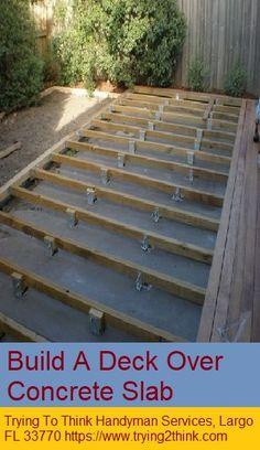 Very low deck over concrete Concrete Patios, Deck Over Concrete, Concrete Porch, Patio Slabs, Concrete Slab, Diy Patio, Backyard Patio, Backyard Landscaping, Patio Ideas