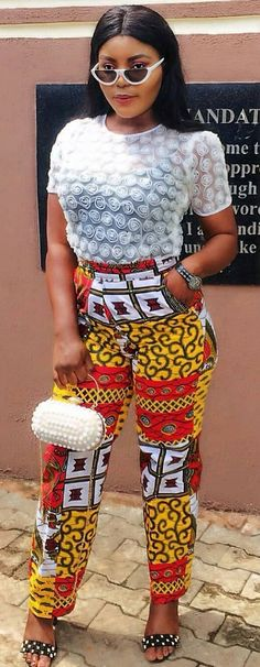 c3ab6c74626ae Latest Ankara High Waist Trouser Styles For Ladies
