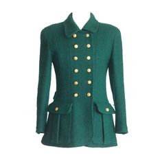 CHANEL jacket rich green heaps gold CC buttons Vintage fits 40 6 | 1stdibs.com