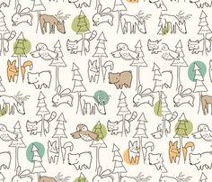 """A Walk in the Woods fabric by auki on Spoonflower - available as fabric, gift wrap, & wallpaper - love """"birch forest"""" more"""